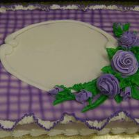 Lavender Gingham With Ruffle lavender purple ruffle roses sheet cake airbrush gingham checks