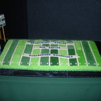 Football Field 6 9x13 cakes. 3 chocolate 3 vanilla. The board it is on is 2'x4' . scoreboard and goal posts are wood covered with mmf and royal...