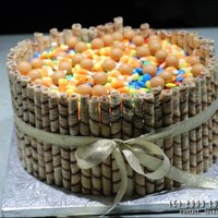 Fall Candy Bowl Made for a 97 yr old with a major sweet tooth! French vanilla cake, piled with her favorite candies. TFL