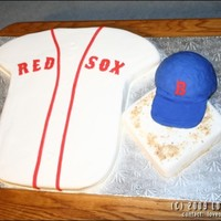 Grooms Boston Red Sox MMF covered, hat RKT, cake is french vanilla covered MMF. TFL