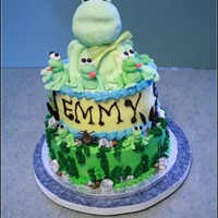 Happy Birthday Emmy!! As requested by the birthday girl. Small frogs MMF, large topper RKT, small rocks are edible choc, large MMF rocks. Loved doing this cake...