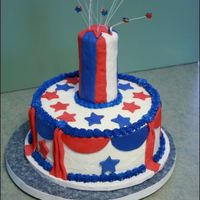 Red, White And Blue Firecracker RKT, fondant accents. TFL