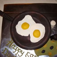 Eggs In A Skillet This was a birthday cake for my dad's 59th. He loves breakfast food and always cooks in his cast iron skillet. I put a little luster...