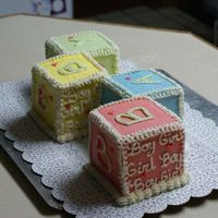 Baby Blocks Side view of baby blocks. The couple didn't know if they were having a boy/girl so that's why I wrote it on the sides. The other...