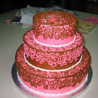 Birthday Cake For Business This is a 1 year birthday cake for an upscale shoe store. Their business colors are pink/brown/white and they wanted those colors used....