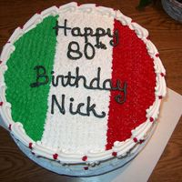 Flag Of Italy fr van cake, rasp filling bc frosting for 80th birthday