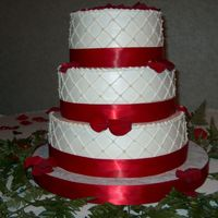 Stacey   round cakes bc and satin ribbon