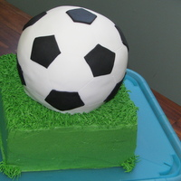Soccer Ball  I made this cake for my son's soccer teams wind up party. First attempt at carving a ball shape. Making the pattern on the soccer ball...