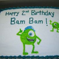 Monsters Inc Birthday Cake Co-worker wanted a cake for her nephew, Mike from Monsters Inc. This is what I came up with.