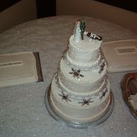 1St Wedding Cake Photo of 1st wedding cake i've done. 3 tier, double layer and 2 sheet cakes.