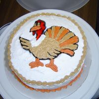 "Turkey Cake   Made this cake for a luncheon we had at work. 9"" Double layer chocolate."