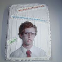 Napoleon Dynamite 9x13 chocolate cake done for a co-worker!
