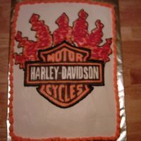 Harley Davidson Birthday Cake Marble sheet cake with harley davidson image on top. Thank you so much to the person on this site that had posted a similar picture, thank...