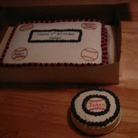 Baseball Birthday Cake   Basic sheet cake with baseball's done in rice paper.
