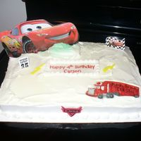 """cars"" Birthday Cake Simple sheet cake with ""cars"" decorations."