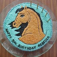 Spirit I made this cake for a little girl who loves Spirit.I traced a picture of Spirit,then pricked the design onto the cake,and coloured it in...