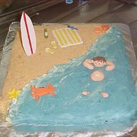 Beach Cake my friend and I made this today for her fiances birthday.I made the fondant decorations and she iced and assembled the cake.We are pretty...
