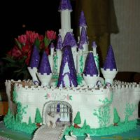 Princess Cake My daughter's 5th birthday princess cake included castle with a hexagon stone wall including towers and a cobblestone base. I made...