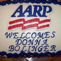 Aarp   vanilla cake, buttercream frosting, AARP symbol is FBCT