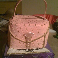 Pink And Gold Pocketbook Cake   This is my neice 15th birthday cake.