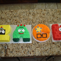 "Yo Gabba Gabba Name Cake 4 8"" cakes carved and decorated to spell ZACK. TFL!"