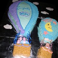 Hot Air Balloon This was to celebrate a new baby to the family! Parents in bigger balloon and baby in the smaller one. (I didn't have a pic of the 3...