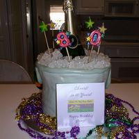 Champagne Ice Bucket Mardi Gras For Gramps 80Th! This was inspired by others here in the gallery...Thank you all! This is 4 layers with MMF. I had a very hard time with the MMF this time...