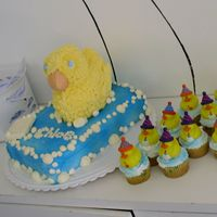 2Nd Birthday Rubber Ducky Cake And Cupcakes Rubber Ducky theme here...found different ducky cakes and put together what I liked best. Soap is white chocolate...Lots of Fun...My DD...