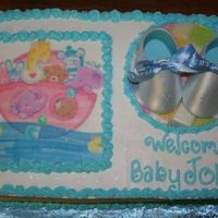 First Baby Shower Cake Cake is WASC with lemon curd filling. Cake is 9X13. They wanted to match to invities so I ordered a edible image. First set of baby booties...