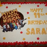 High School Musical Cake This was a last minute cake for me, but I do like how it turned out. Used edible image and fondant and LOTS of pixie dust. Cake is WASC,...