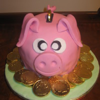 Piggy Bank   Chocolate nud cake covered in fondant