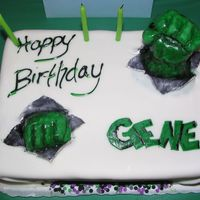 Incredible Hulk  I made this cake for my husband's 23rd birthday. He loves the HULK, so I had him break through and say happy bday. Everything is...