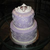Purple Princess Cake February 2008 - All buttercream with a royal icing tiara.