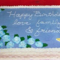 Granny's 70Th Birthday Cake This was my first cake done using fondant; the whole top is rolled fondant and all the roses and the butterfly is fondant. The basket weave...