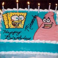 Patrick & Spongebob This wouldv'e turned out better if I'd drawn out the picture before I drew it on the cake. I still don't know how to...