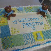 Fondant Bear Baby Blanket Cake I made this for a good friend's baby shower. Bears were hand made out of fondant. I used candy molds and white chocolate for the...