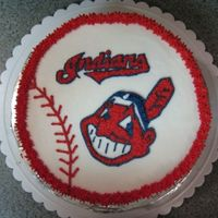 "Cleveland Indians All BC Cleveland Indians cake. I also wrote ""Take Me Out to the Ballgame around the sides."