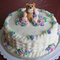 Teddy In Flowers All BC with a fondant teddy bear. Thanks to JaneK...her adorable bears helped with this one!