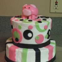 Trendy Piggy This birthday cake was requested by my niece. BC with fondant accents and fondant piggy.