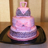 Mariah's 16Th Birthday Cake Pink Cheetah print purse cake