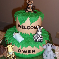 Jungle Animals And Palm Leaves  Iced in B/C, this cake was made to match the nursery of the new baby. Palm leaves were made from fondant, as well as lettering. The animals...