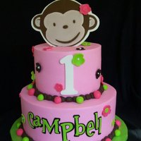Pink Mod Monkey... Buttercream with fondant and gumpaste accents. I loved this cake.