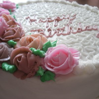 Rose Cornelli Buttercream roses with cornelli lace.
