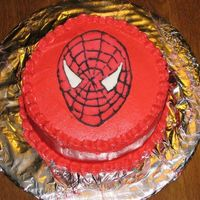 Spiderman Vanilla buttercream with a colorflow Spiderman face.