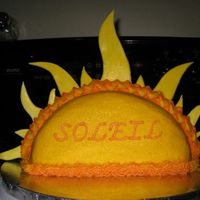 Sun Cake for a little girl named Soleil...so I decided to make a sun!