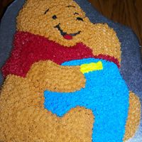 Winnie The Pooh This was done for a baby's 1st birthday. Chocolate cake with BC icing. Wilton shaped Pooh Pan.