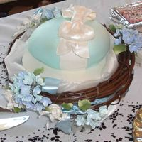 Someone's Nesting Shower Cake Used wilton 3d egg pan - covered with Satin Ice fondant tinted light light light blue - fondant bow - made it the night before -The nest is...