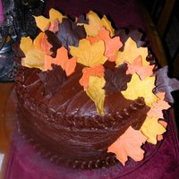 Leafing It All Behind In Chocolate Triple fudge cake with varigated colored chocolate leaves.