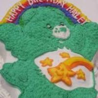Hayley's Carebear Wilton's Carebear pan and carebear icing colors.