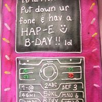 Kalynn's Cell Phone This was just your basic sheet cake. I trimmed the corners to round them off better. Covered in buttercream. Airbrushed and added details....